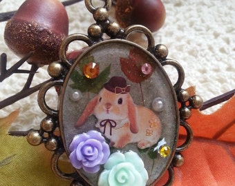Resin Pendant, Rabbit with brown hat