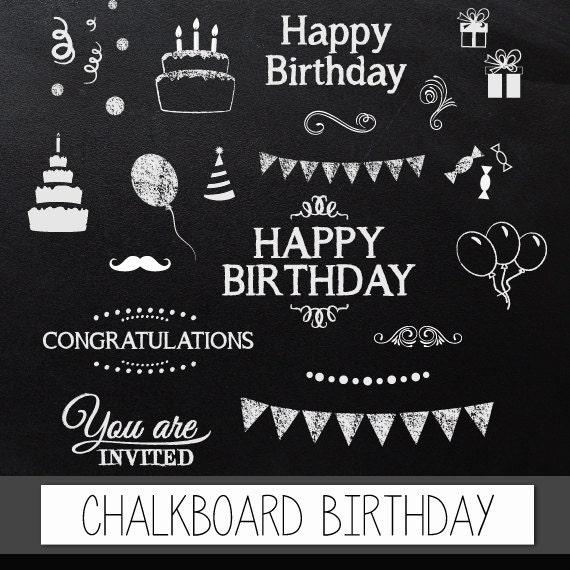 Items Similar To Chalkboard Clipart Birthday: Digital Clip
