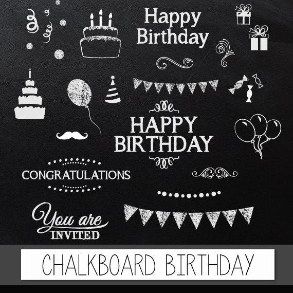 chalkboard clipart birthday  digital clip art chalkboard