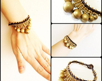 Pretty Brass Bracelet,  Brass Beads and Bells, Triangle Wax String Handmade Thailand Jewelry. JB1037