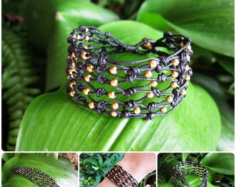 Beautiful Wax Cord Net with Brass Beads Bracelet, Adjustable Size, Wax String Bracelet Handmade Jewelry. JB1049