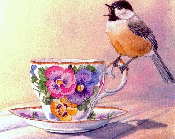 PRINT- CHICKADEE and TEACUP; afternoon tea, nature, backyard bird, garden, wings, feathers, wall art, chickadee print, Canadian art