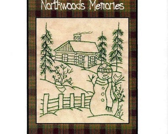 Northwoods Memories Snowman with Cardinals - Redwork Hand Embroidery Pattern by Beth Ritter - Instant Digital Download