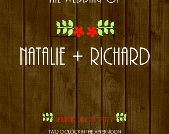 "Wood Grain Wedding Invitation 5""x7"" Custom Digital Card & RSVP Postcard"