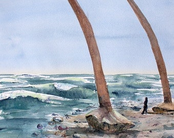 Isla Bastimentos orginal watercolor painting 16 x 20