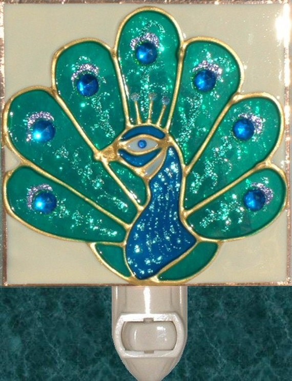 Decorative Wall Plug In Nightlights : Peacock Night Light Unique Stained Glass Decorative by LuminaBella