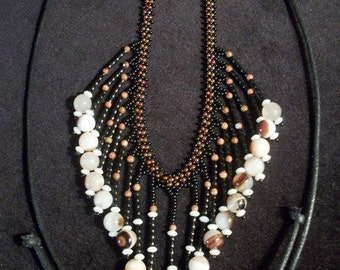 In Agate Coral Goldstone & Glass Beaded Tassel Bib Necklace - Necklaces for Women
