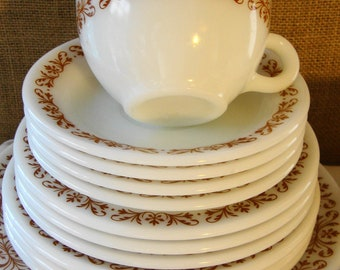 18PC Mid Century Dinnerware by Corning Vintage Milk Glass Set Dishes Complete Dish Set MID MOD Dishes Cottage Kitchen Well Stocked Kitchen