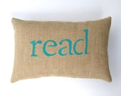 read pillow, book lover, book nook, inspirational, decorative burlap book pillow, read, teacher gift, gift under 40 by whimsysweetwhimsy