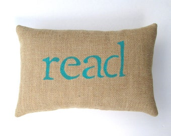 book pillow, read pillow, decorative burlap pillow, reading nook pillow, book decor, read, playroom pillow by whimsysweetwhimsy
