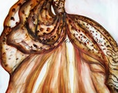 Leopard Couture Gown Watercolor Painting Fashion Illustration Original by Artist