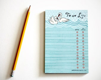 Coworker Gift - White Swan TO DO LIST notepad, list pad organizer office gift