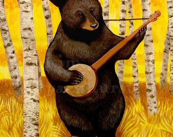 Banjo Bear Signed Print