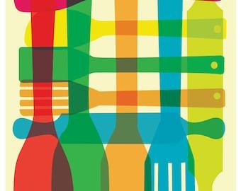 Kitchen Art Print Giclee  - Utensil Stack Medium - Poster Mid Century Modern Inspired Art Print Plaid Pattern