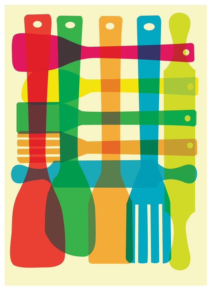 Kitchen Utensils Border kitchen giclee print utensil stack poster mid century