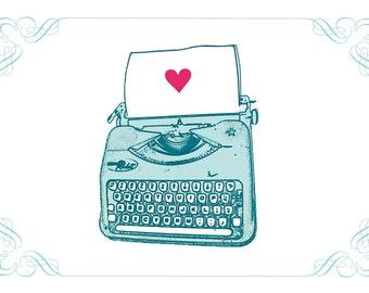 Typewriter Heart print (love, aqua, green, purple, aqua, brown)