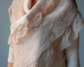 40% OFF SALE flesh pink chiffon and white merino nuno felted shawl