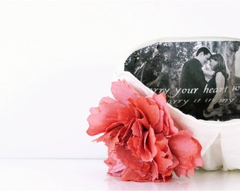 Gift for Mom. Photo Clutch. Bridesmaids Gift. Ivory Clutch. Coral Clutch. Mother of the Bride. Silk Clutch. Personalized Photo. Photo Gift