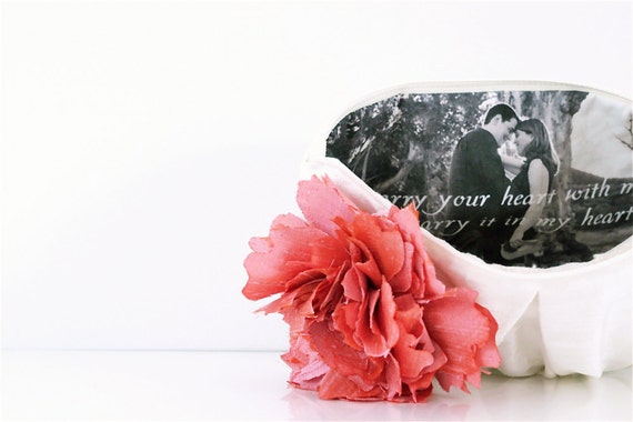 ivory silk portrait clutch, personalized bridesmaids gifts, coral pink