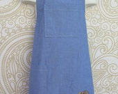 Childs Blue Chambray Apron with Embroidered Bulldog