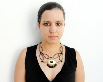 Black and Gold Necklace and Earrings - Wire wrapped, crystals, rhinestones - Art Deco style