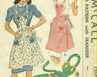 McCall 1257 Heart-Shaped Bib Apron with Gathered or Plain Skirt, Butterfly Applique too, dated 1946