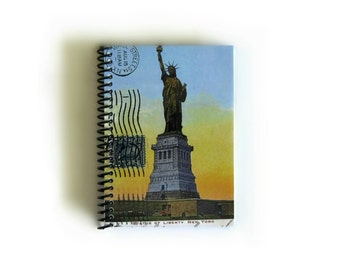 Statue of Liberty New York City Spiral Bound Diary Travel Writing Journal, Blank Pocket Sketchbook, A6 Cute Notebook, Travel Gifts Under 15
