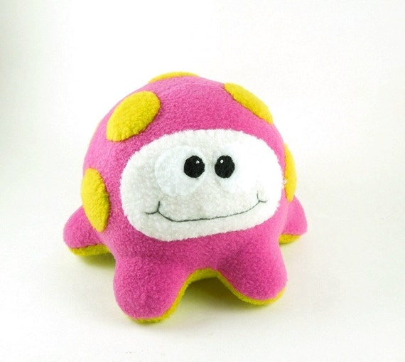 Kids Alien Microbe Stuffed Animal in Magenta and Chartreuse