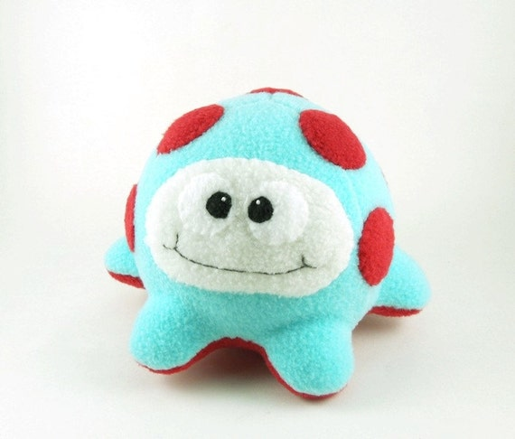 Kids Alien Microbe Stuffed Animal in Aqua and Red