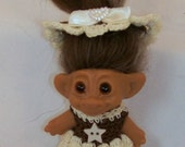 Cream and Brown  - 3 Inch TROLL OUTFIT