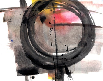 "Enso Abstract painting, Zen Circle, Spiritual Art, black, red, yellow, gray, Original ""Enso Abstraction 111 "" by Kathy Morton Stanion EBSQ"