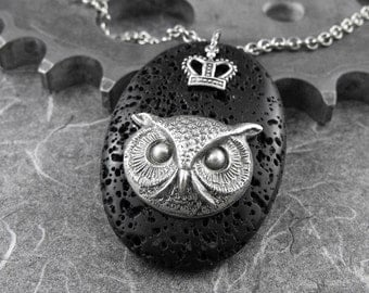 Crowned Owl Black Lava Stone Necklace - The Nightly Reign of the Horned Owl by COGnitive Creations