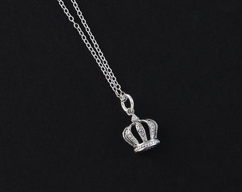 Dainty CZ Crown Charm Sterling Silver Necklace. Gift for her.