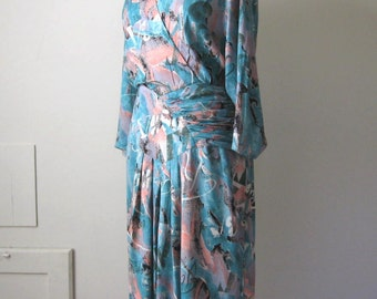 SALE 80s Dress Ruched Secretary Dress 40s Style Pastel Dress