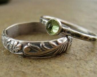 Sterling Silver Peridot Wedding Bands Flower Silver Band Peridot Jewelry Nature Botanical Engagement Ring Set
