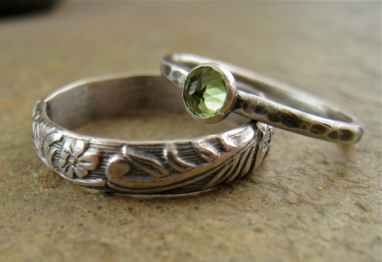 nature wedding rings sterling silver peridot wedding bands flower silver band 6099