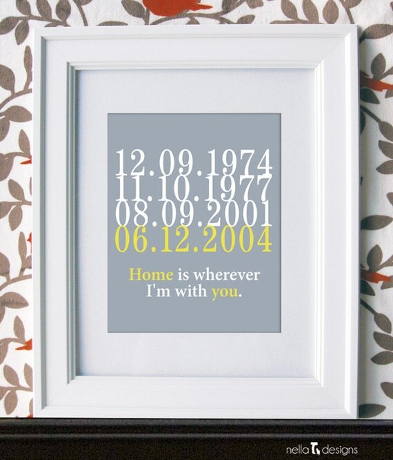 Subway Art, Custom Dates, Subway Dates - Home is Wherever I'm with You