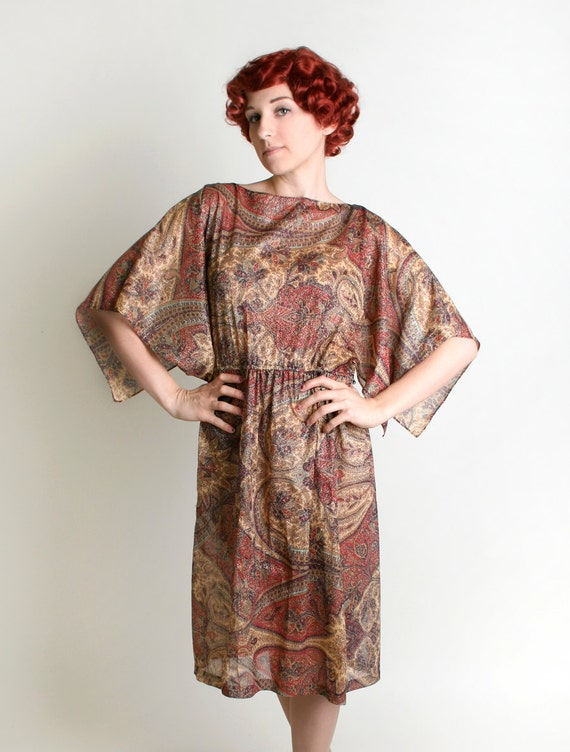 1970s Bohemian Paisley Dress - Vintage Sheer Goddess Golden Thread Dress - XL