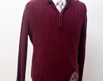 Men's Sweater / Upcycled Zipper Sweater / Screen Printed Celtic Knot / Size Large