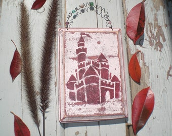 Pink Crown, 5 PIECES, Pink Castle, Castle Art. Gift, Fairytale Decor, Pink Nursery Art, Princess, New Baby, Girls Room, Party Gift, Wood Art