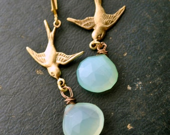 Blue Birds gold and aqua Peruvian blue Chalcedony gemstone earring dangle drops