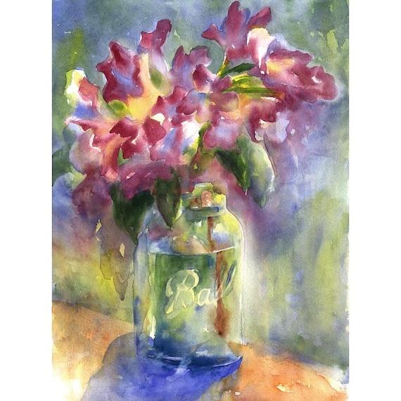 original watercolor painting - azaleas in ball jar - alisa wilcher