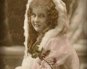 Christmas, Belle Helen Noel Wishes - French Postcard 1915 - Instant Digital Download FC057