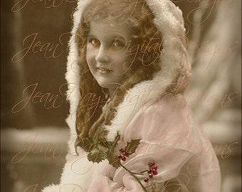 Christmas, Belle Helen Noel Wishes - French Postcard 1915 - Instant Digital Download FC057