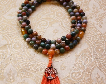 Fancy Jasper Mala Bead Necklace with Yellow Agate & Red Aventurine - Multicolored Jasper Tibetan Mala Prayer Beads