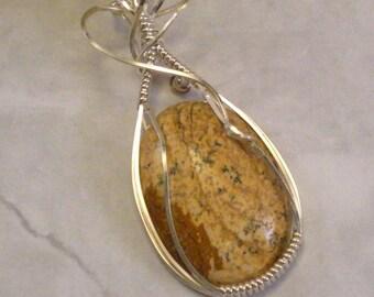 Desert Jasper in Sterling Silver Wire Wrap Pendant Necklace