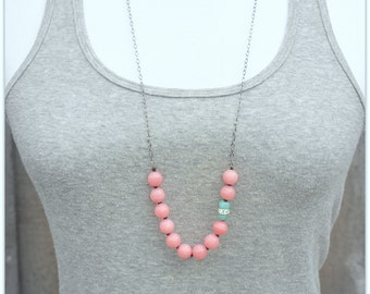 Gemstone Pink and Aqua Blue Beaded Long Necklace