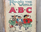 Hardcover Vintage Childrens Book, Front Cover to Frame -- Round the World ABC