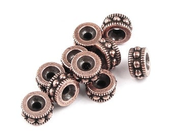Antique Copper Beads Copper Bali Beads TierraCast Beads 6mm Rococo Round Spacer Beads Copper Heishi Beads for Jewelry Making Supply (PS131)