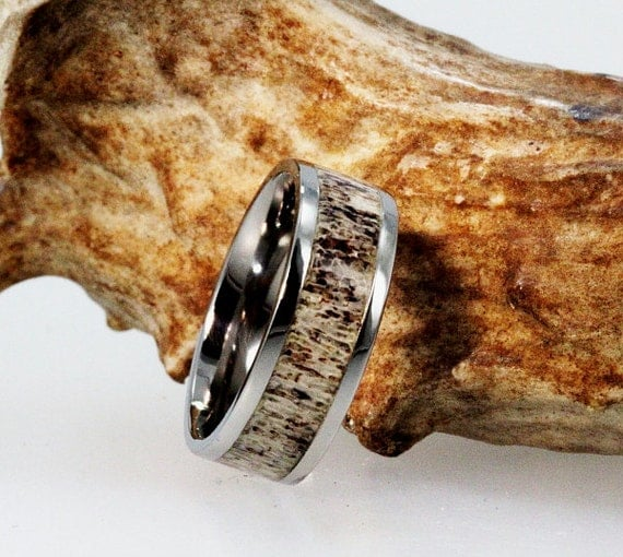 Deer Antler Wedding Band, Titanium Ring For Hunters, Natural Antler Jewelry